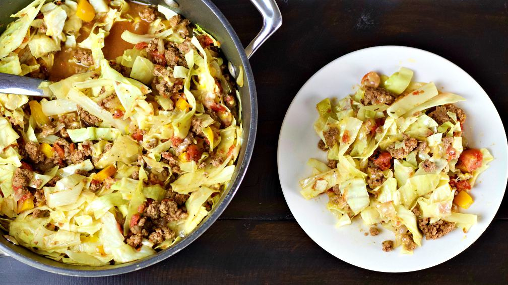 skillet dinner and single serving-unstuffed cabbage dinner