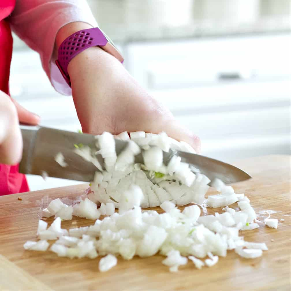 dicing an onion-chicken soup recipe
