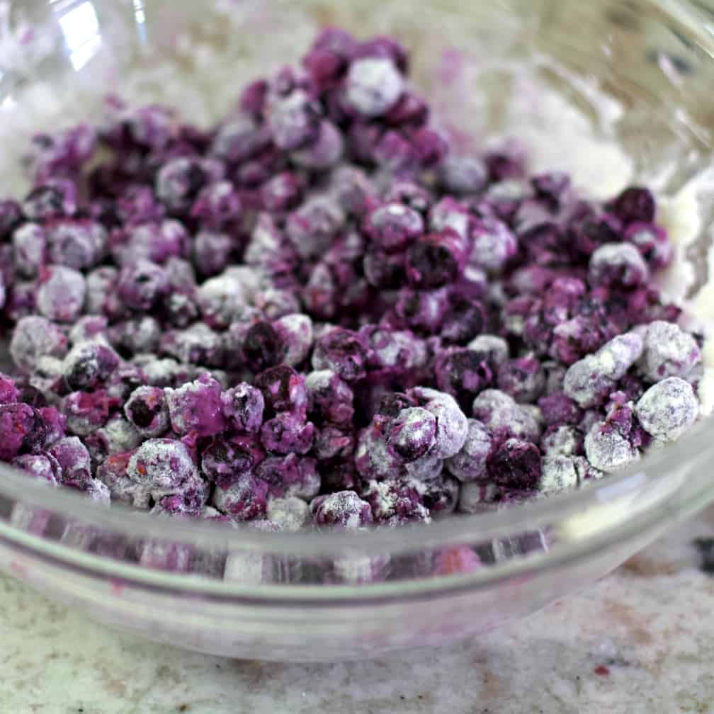 blueberries with flour mixed in.