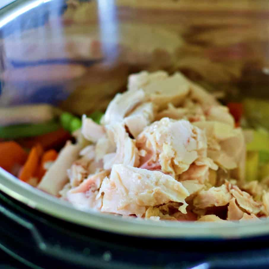 chicken in instant pot on vegetables