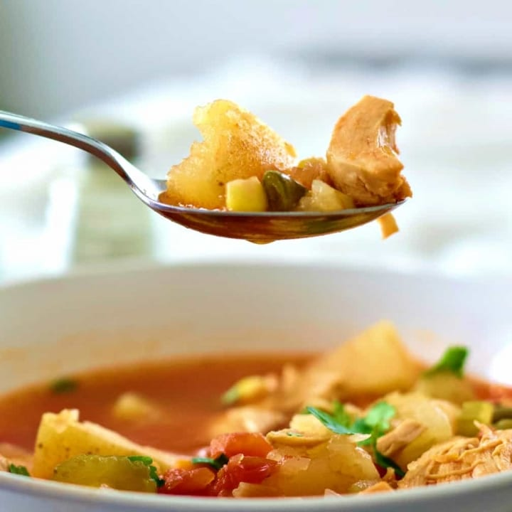 chicken vegetable soup spoonful