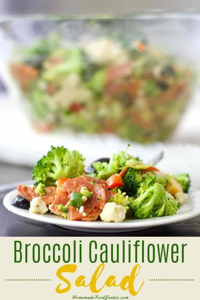 broccoli cauliflower salad-pin image