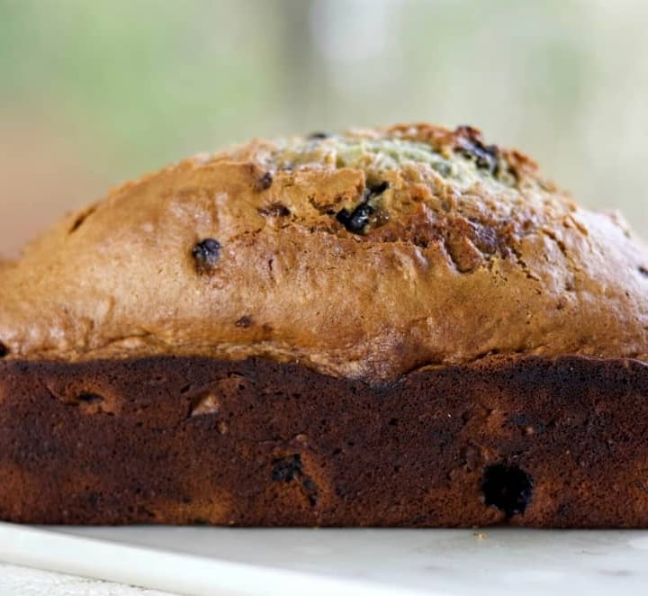 sourdough banana bread with blueberries
