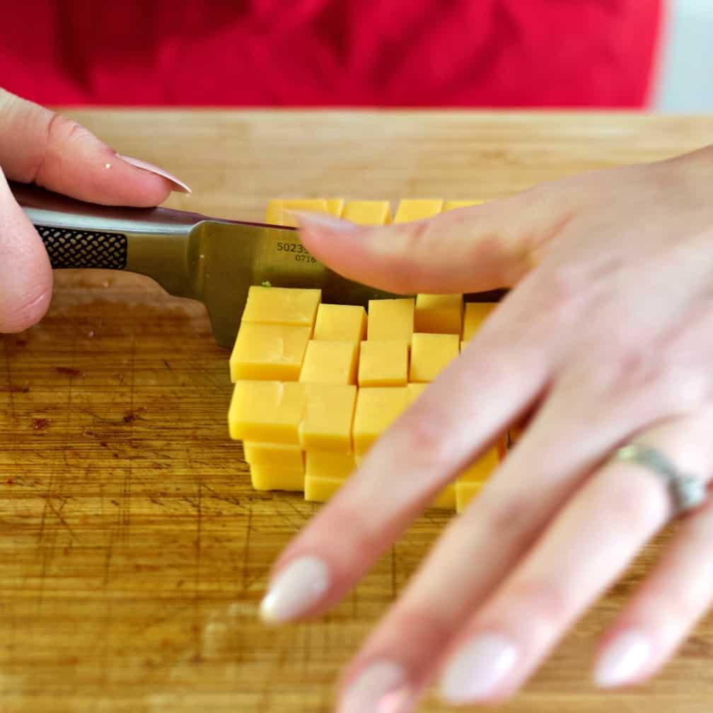 Cubing Cheddar Cheese