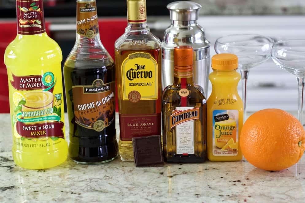 ingredients for the chocolate orange margarita