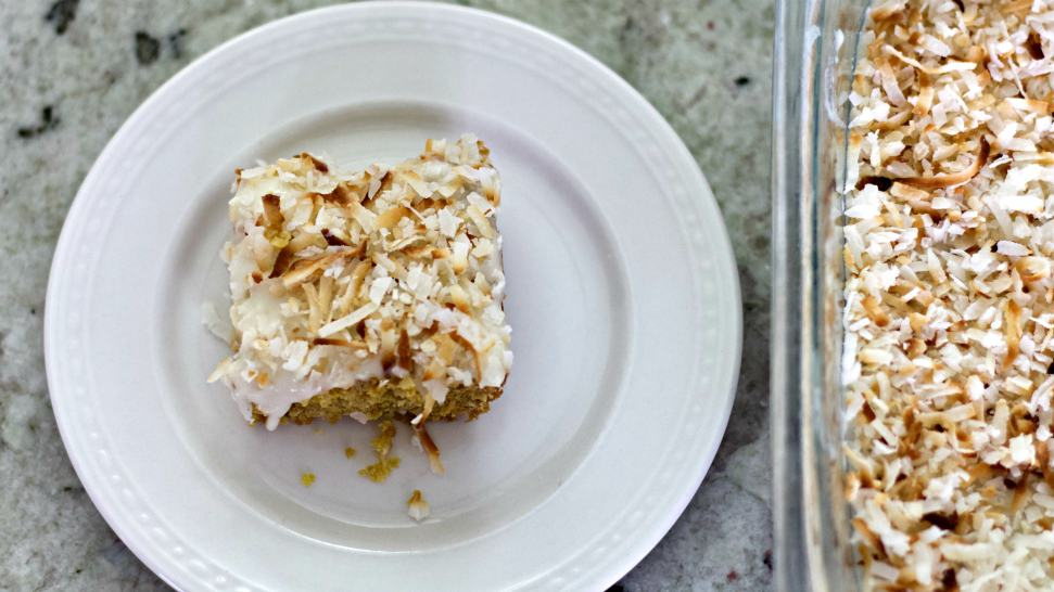 Toasted Coconut Bars In Pan And Plate