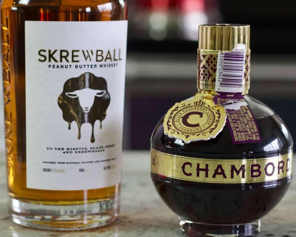 Skrewball whiskey and Chambord
