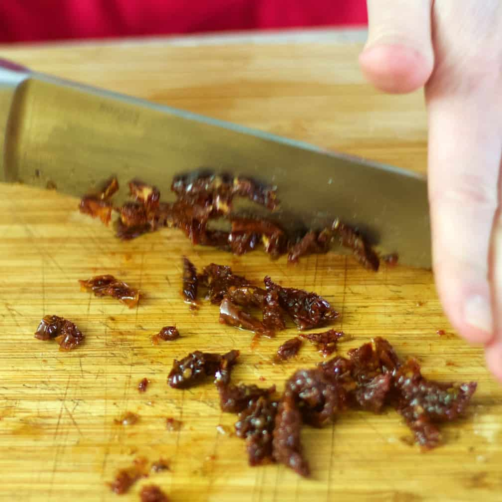 chop sun dried tomatoes
