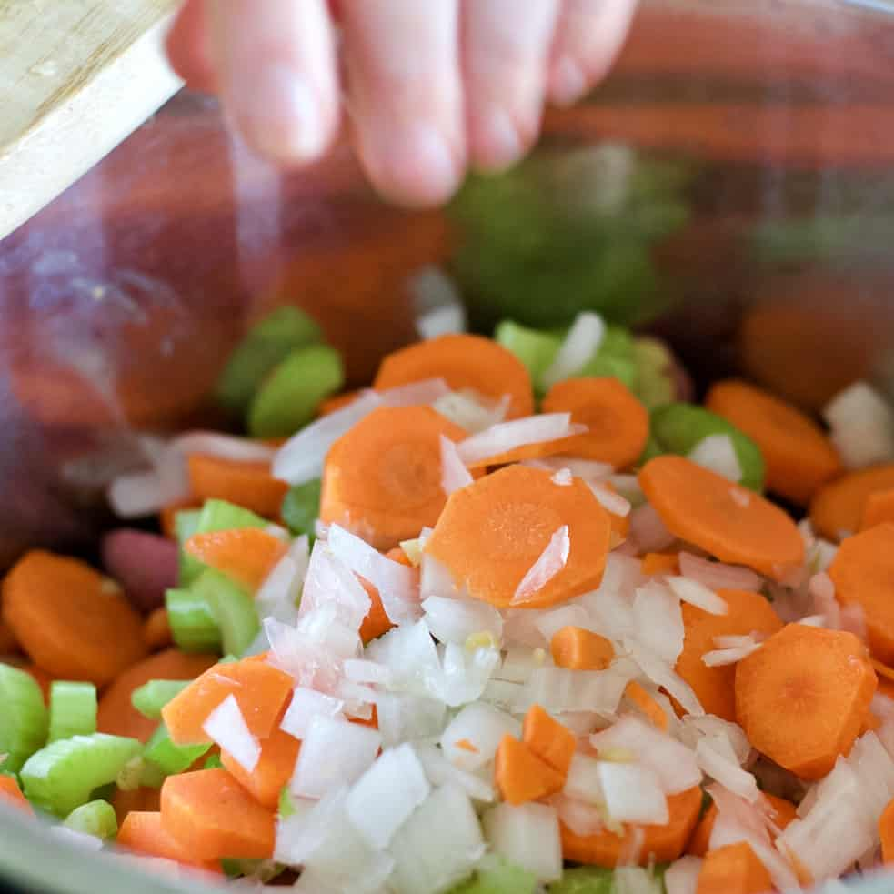 chopped vegetables in an instant pot.