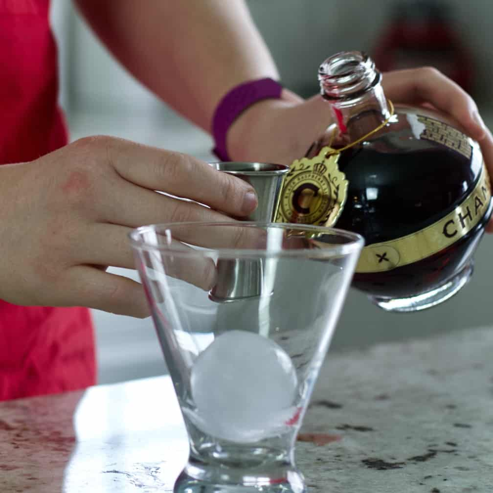 pouring chambord-peanut butter and jelly drink