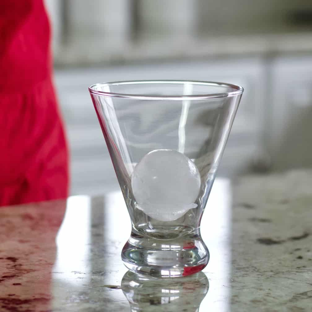 stemless martini glass with large round ice cube