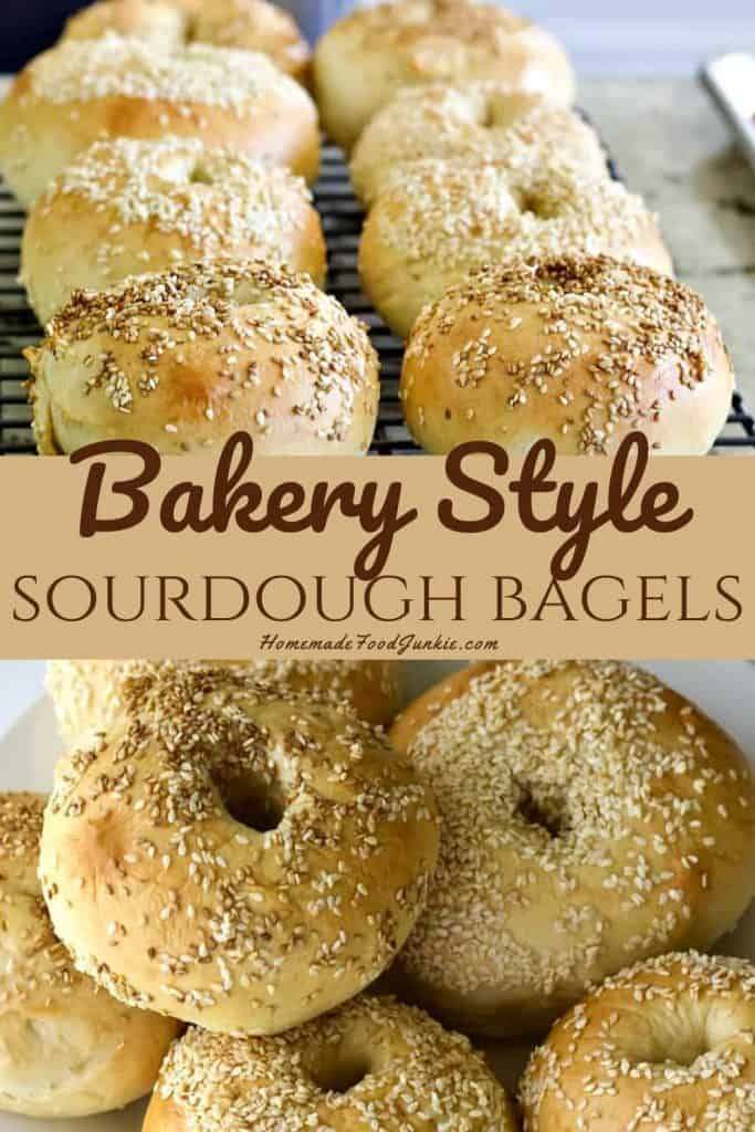bakery style sourdough bagels-pin image