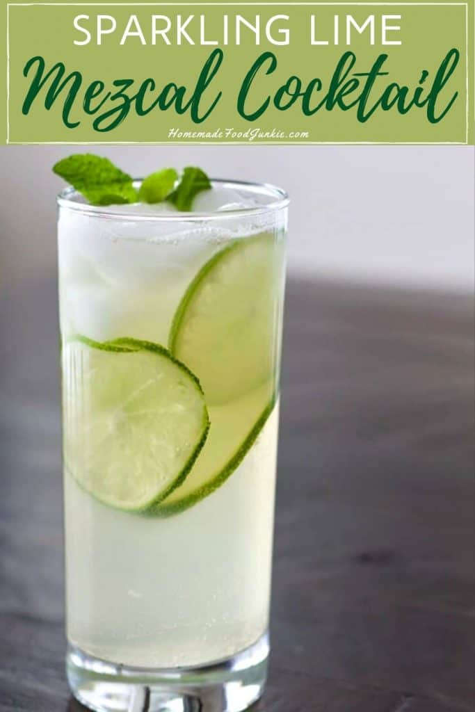 sparkling lime mezcal cocktail-pin image