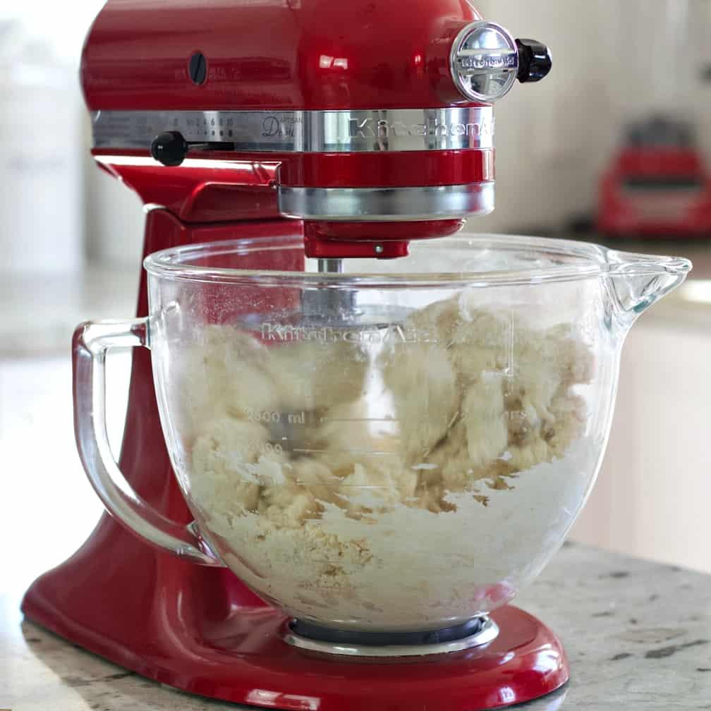 mixing bagel dough