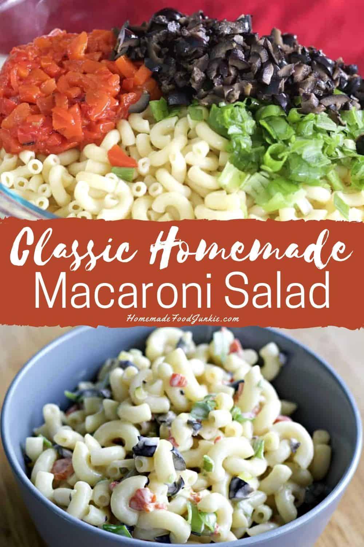 Classic homemade macaroni salad pin image