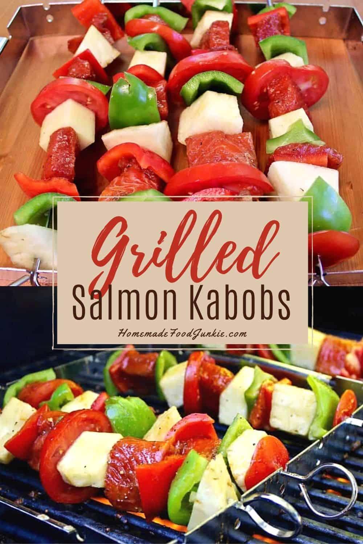 Grilled salmon kabobs-pin image