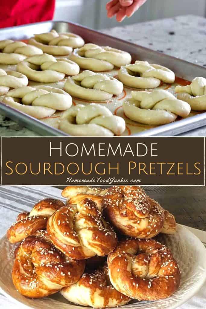 Homemade sourdough pretzels-pin image