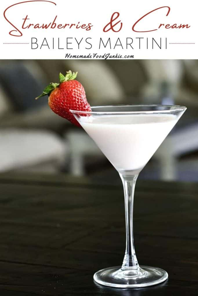 strawberries and cream baileys martini-pin image