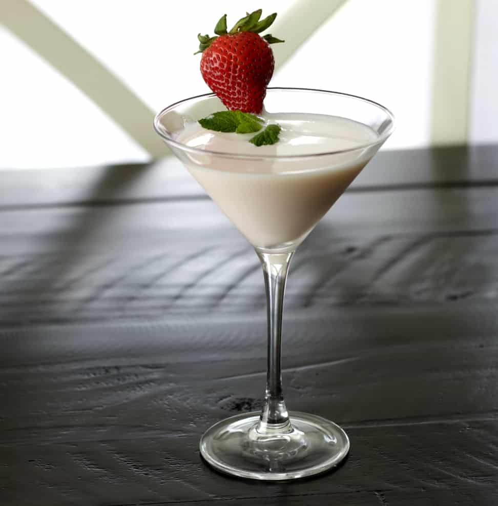 Strawberries and cream vodka cocktail