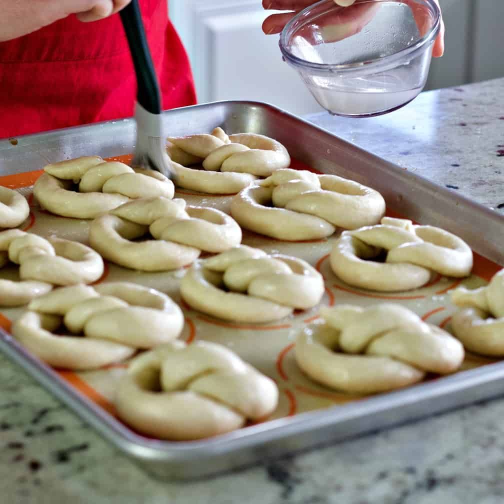 Brushing On Baking Soda Wash-Sourdough Pretzels