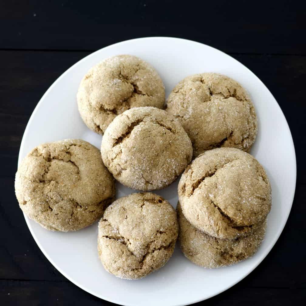 Sourdough molasses cookies top view