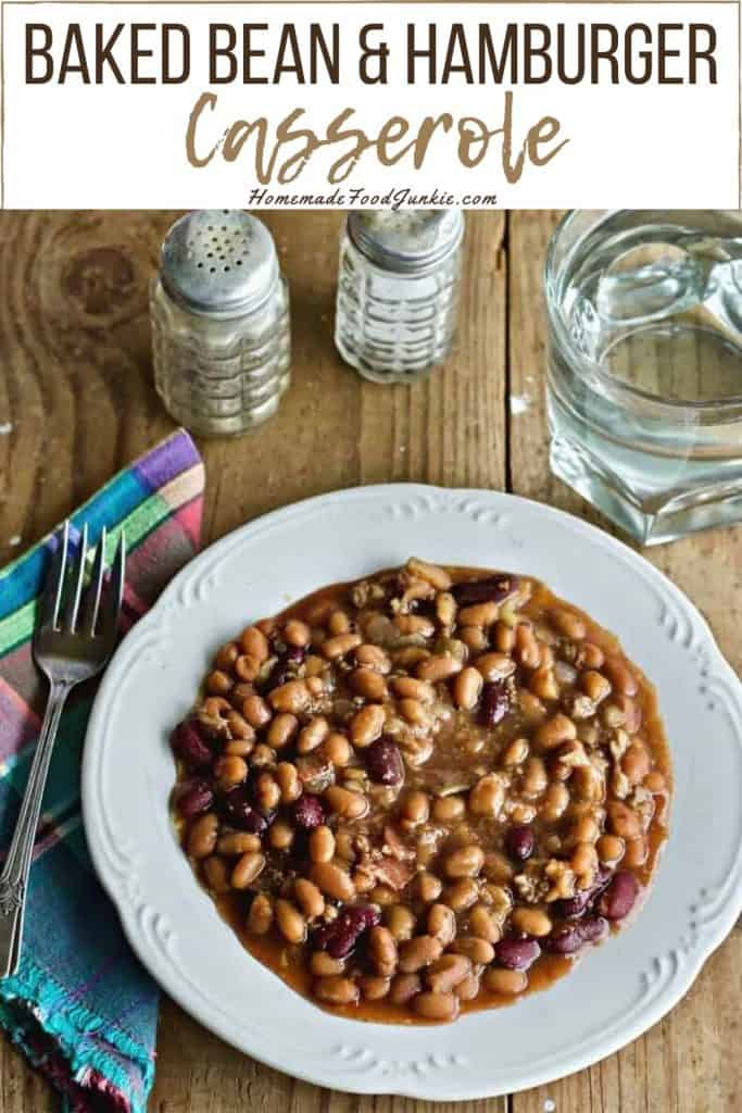 Baked Bean and Hamburger Casserole-pin image