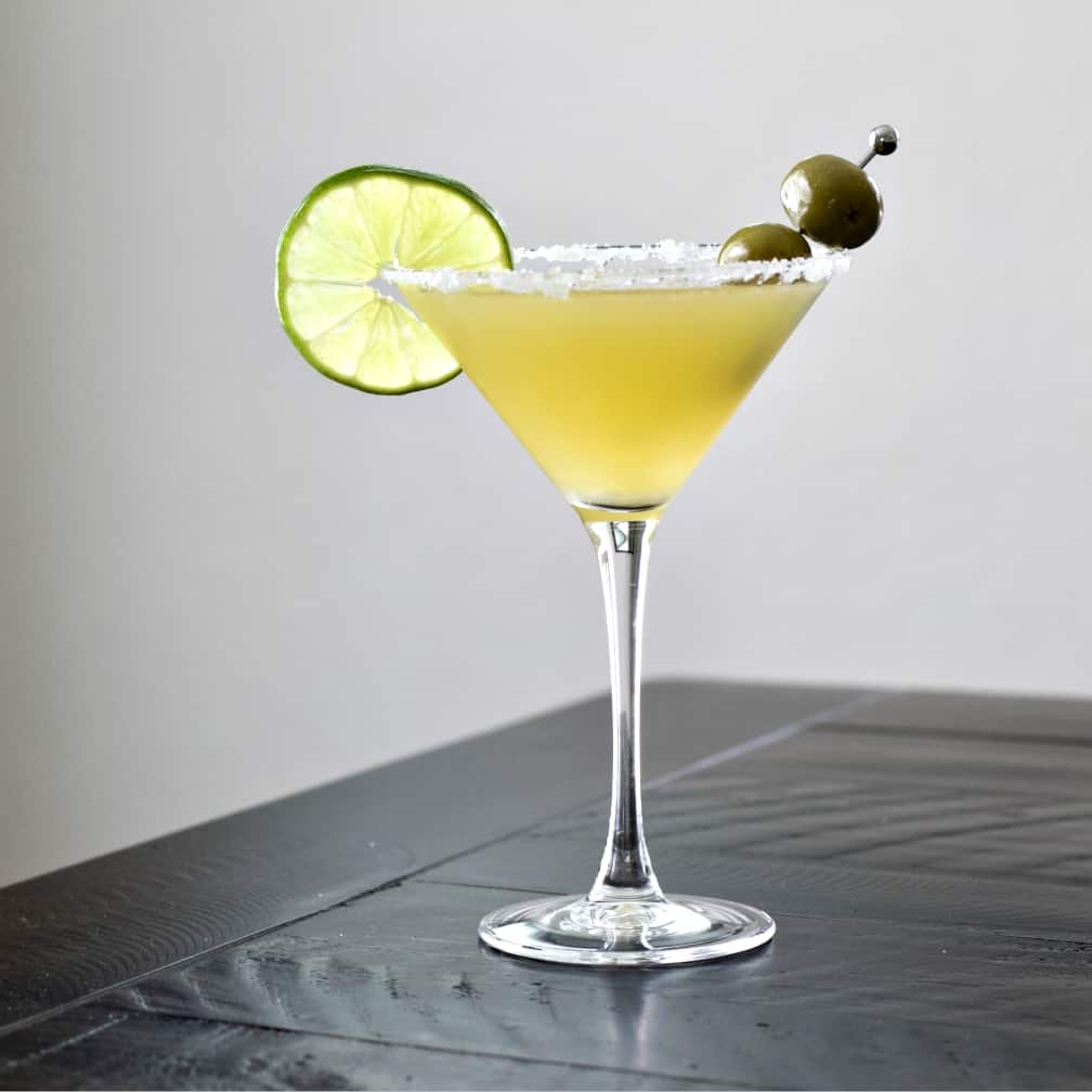 Mexican Martini on a dark table