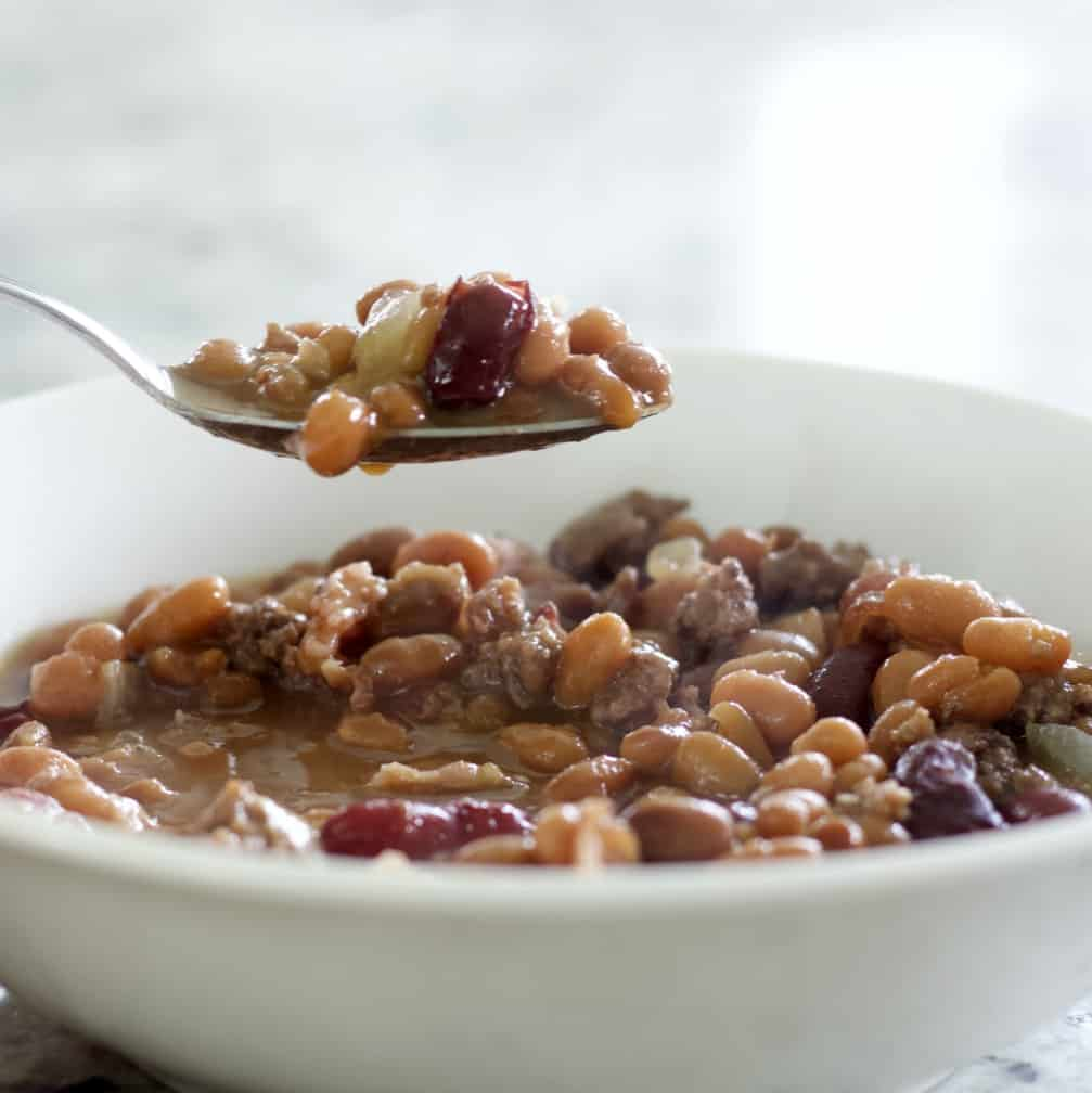 baked bean casserole spoonful