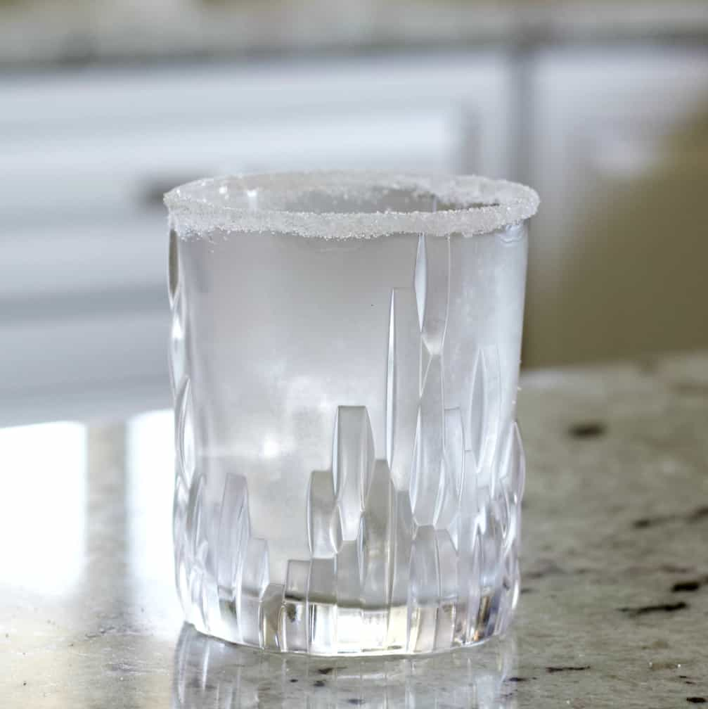 rimmed and chilled glass with ice.