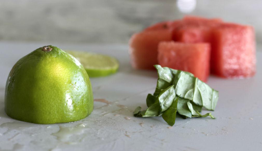 fresh ingredients for watermelon margarita