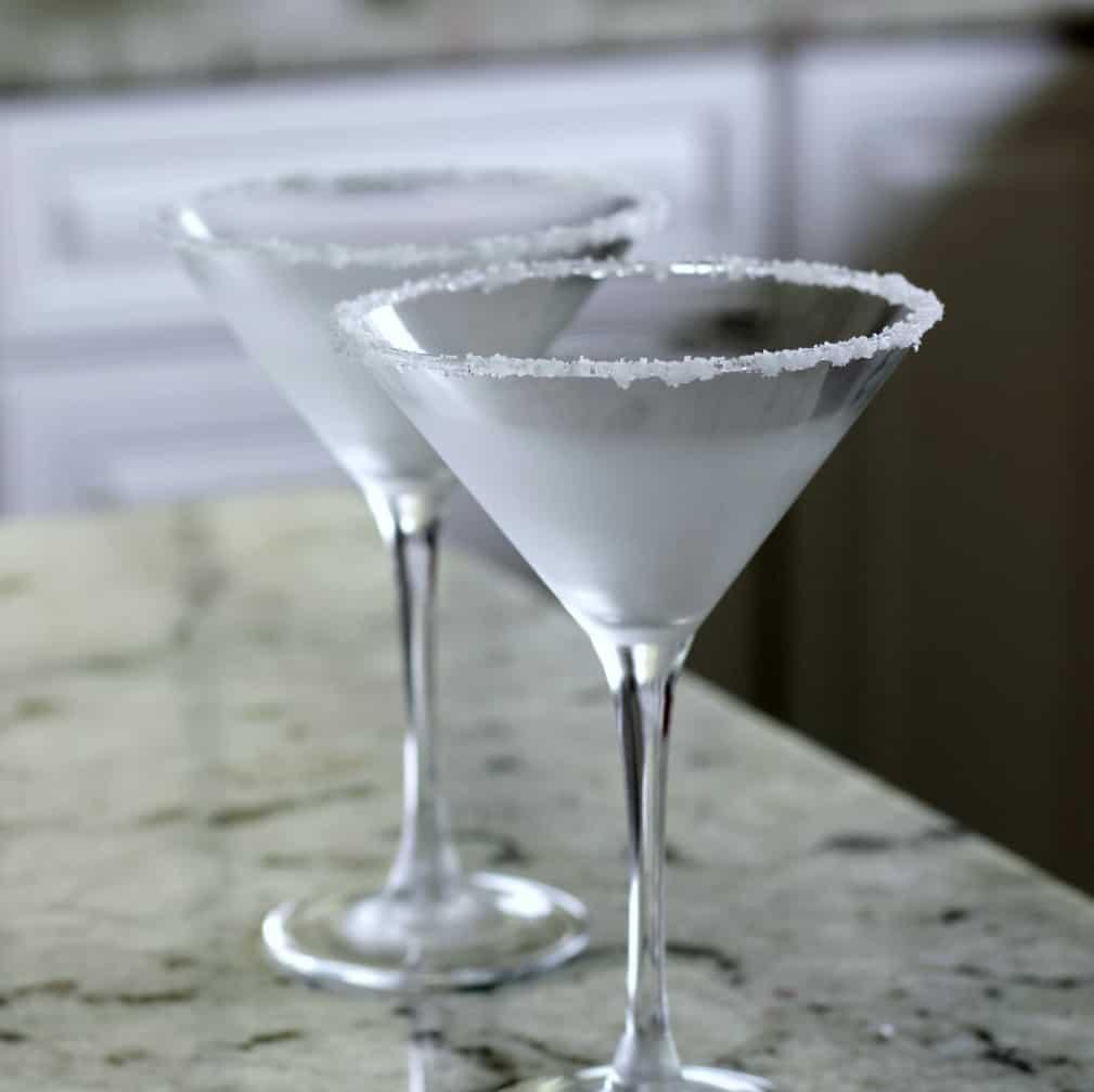 salted rim on martini glass