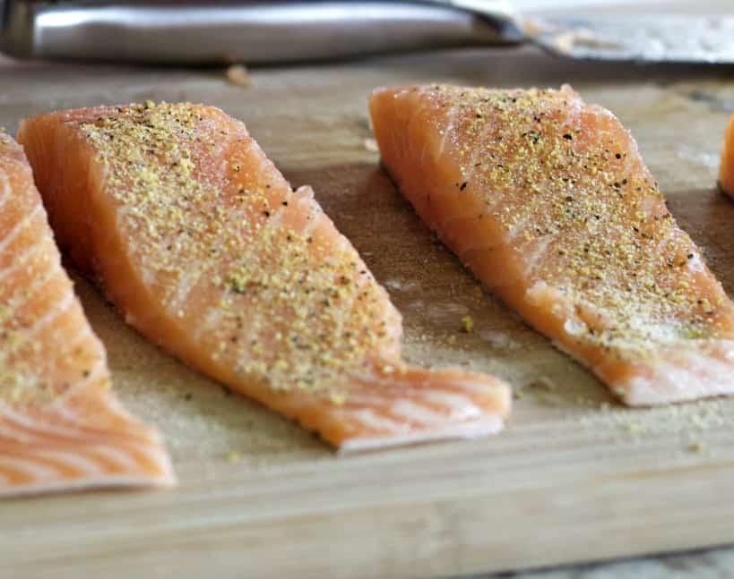 seasoned salmon steaks