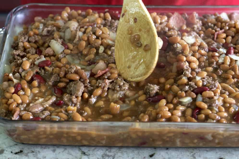 smoothing hamburger bean casserole.