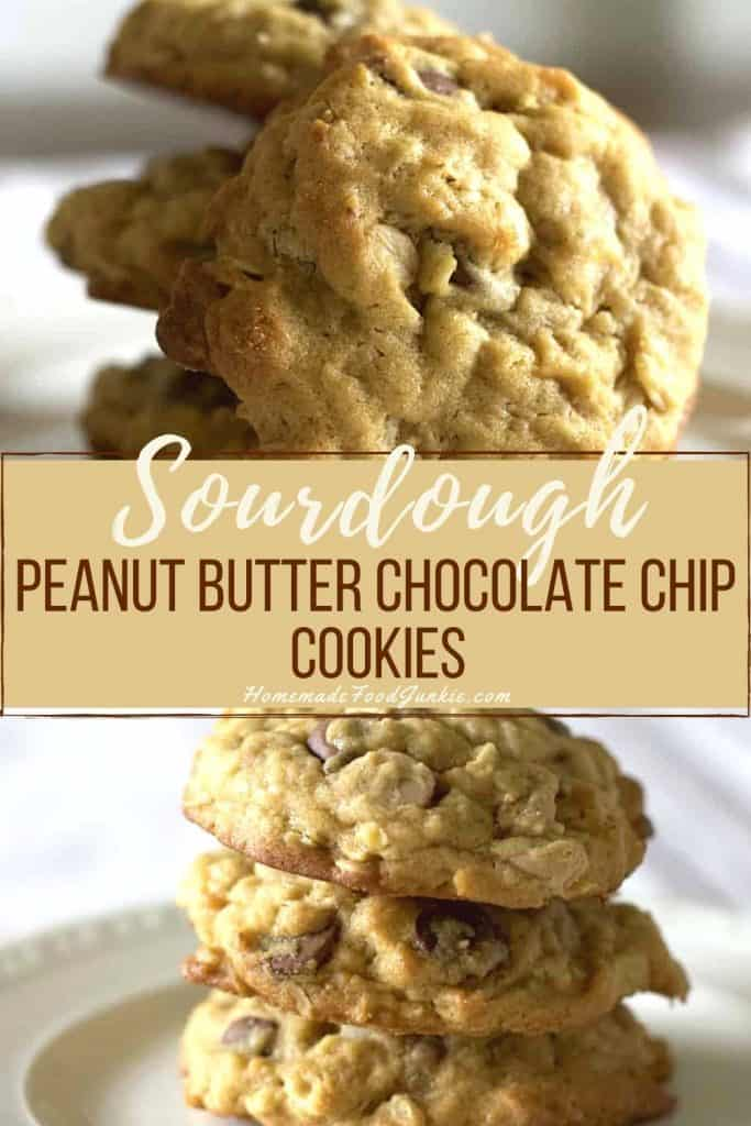 sourdough Oatmeal peanut butter chocolate chip cookies-pin image