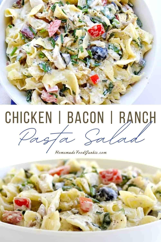 Chicken bacon ranch pasta salad-pin image