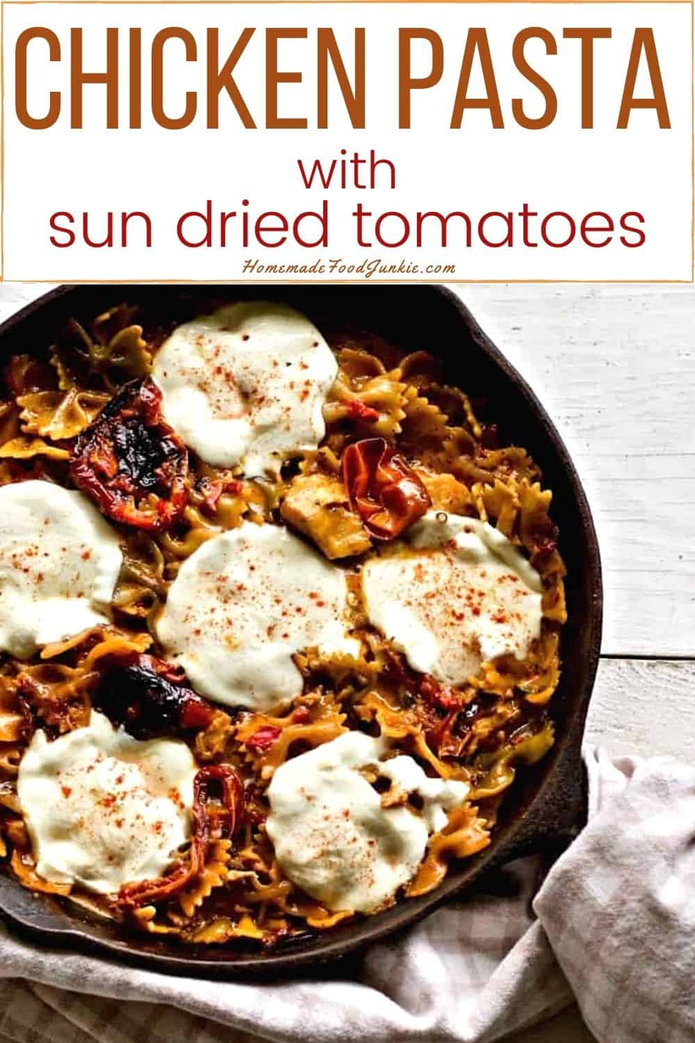 Chicken pasta with sun dried tomatoes-pin image