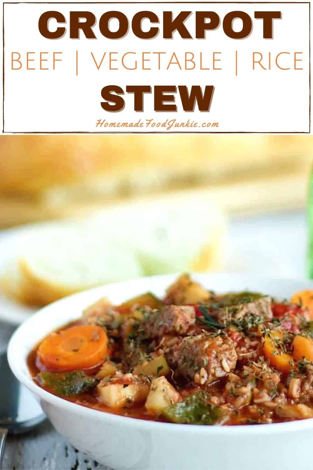 Crockpot beef vegetable rice stew-pin image