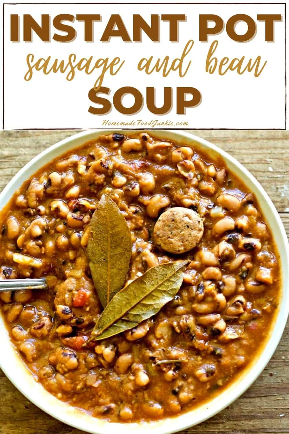 Instant pot sausage and bean soup-pin image