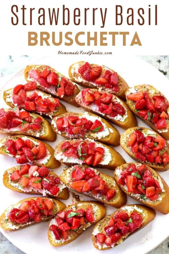Strawberry basil bruschetta-pin image