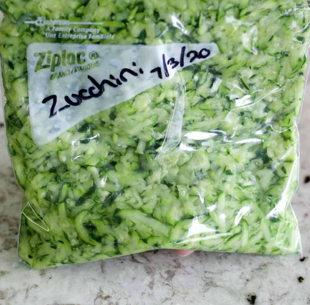 zucchini in labeled freezer bag.