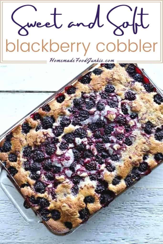 Sweet and soft blackberry cobbler-pin image