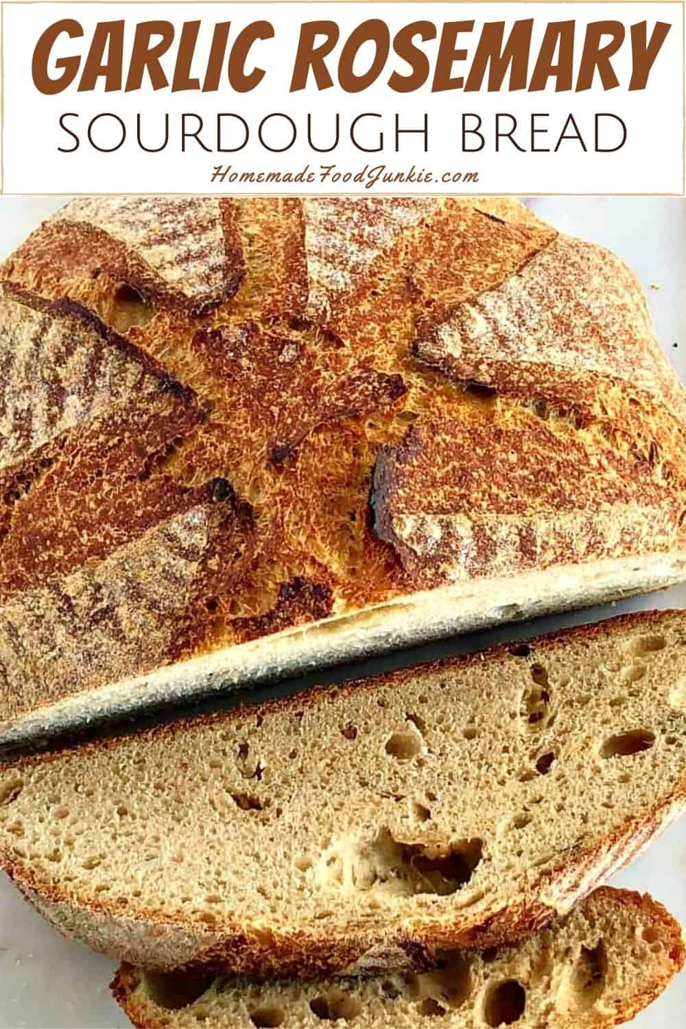 Garlic rosemary sourdough bread-pin image
