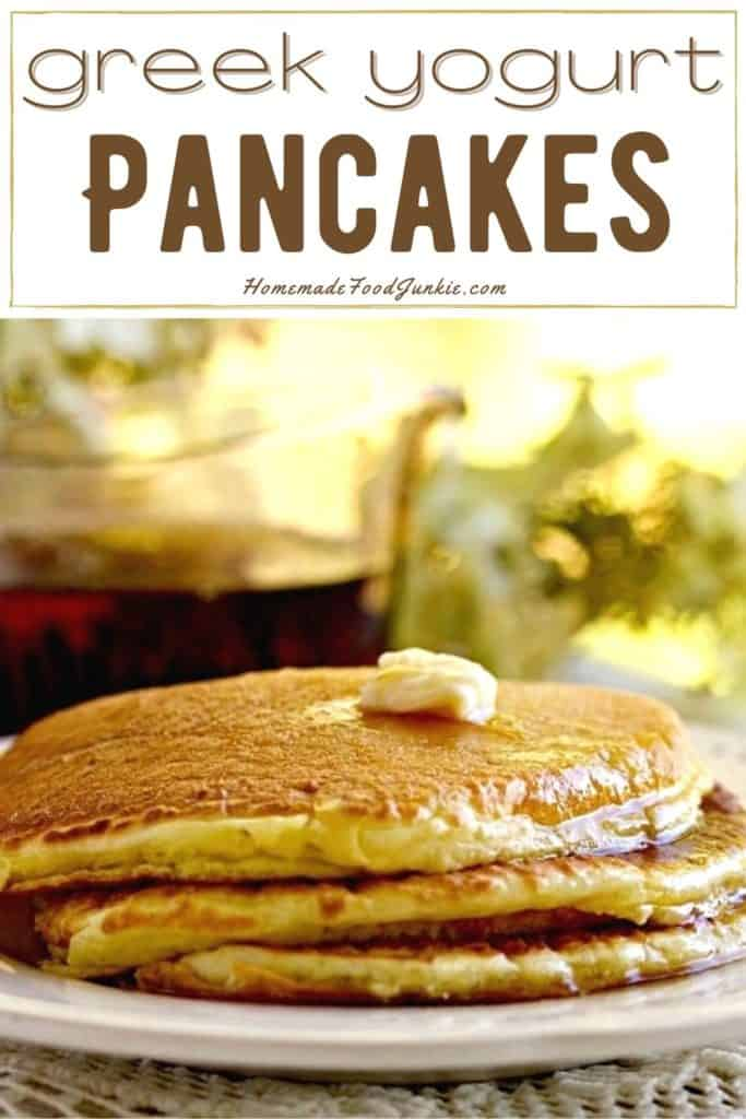 Greek yogurt pancakes-pin image