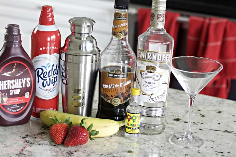 Ingredients for Banana Split Cocktail