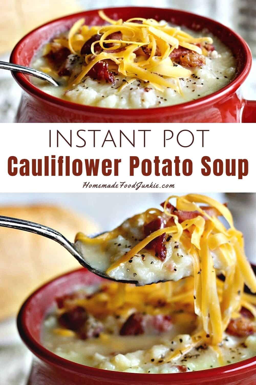 Instant pot cauliflower potato soup-pin image