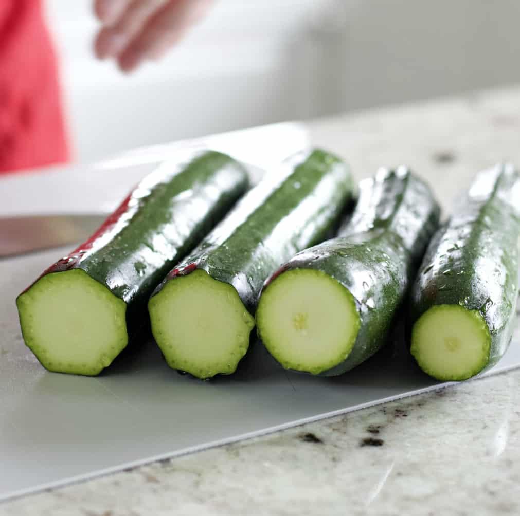 prepped zucchini ready to shred for veggie quiche