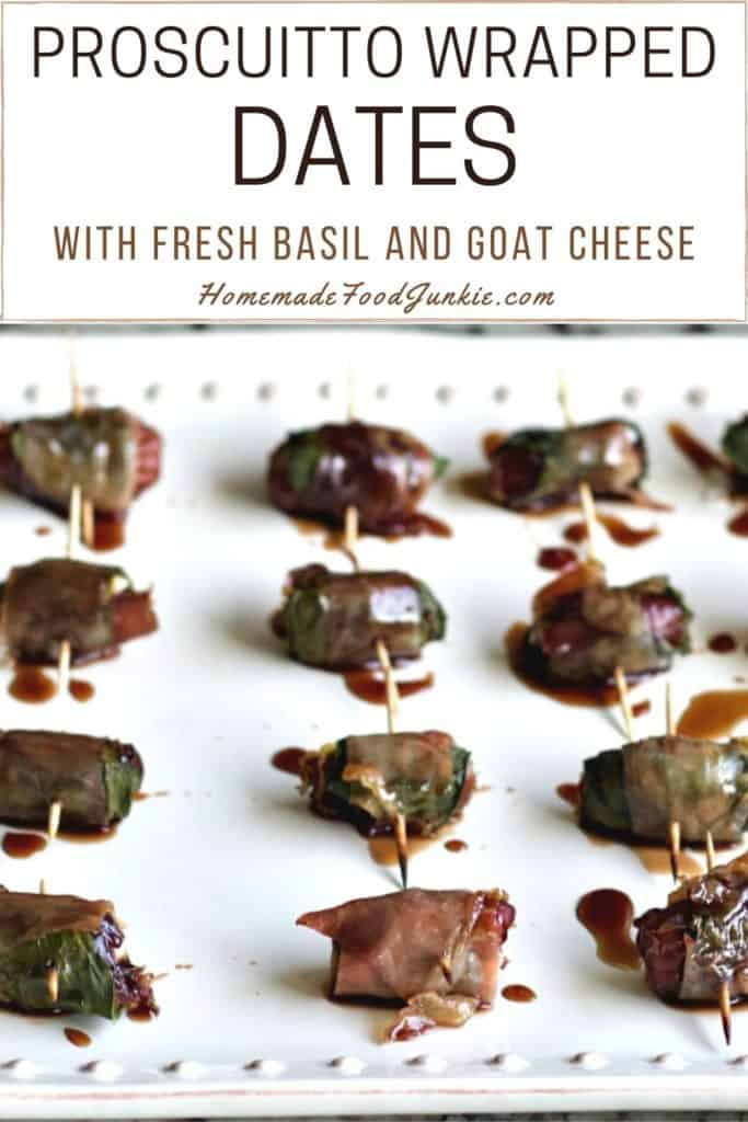 Proscuitto wrapped dates with fresh basil and goat cheese-pin image
