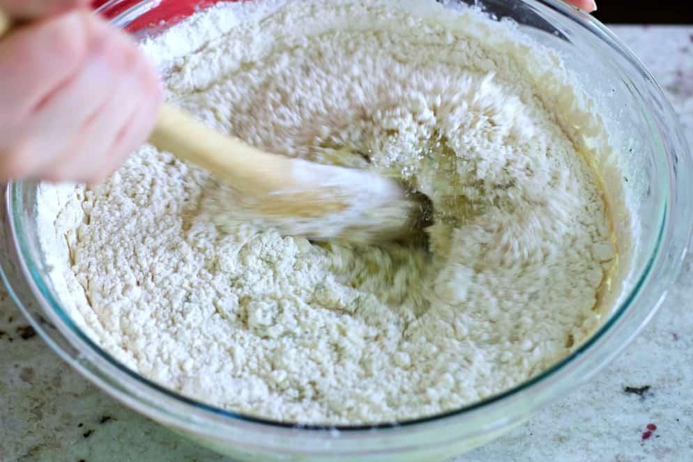 stirring in the dry ingredients.