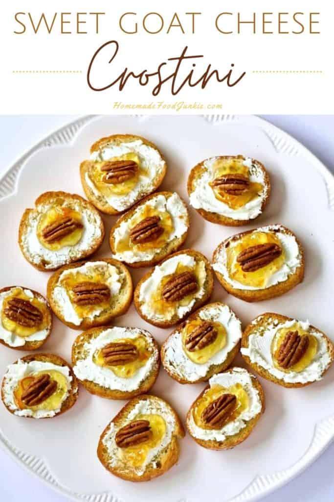 Sweet goat cheese crostini-pin image