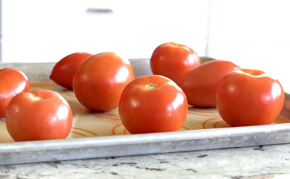tomatoes on a baking sheet not touching